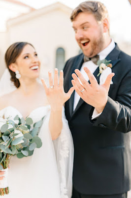 bride and groom with rings on fingers