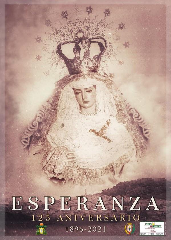 Cartel y logotipo del de la llegada a Estepa de María Santísima de la Esperanza Coronada