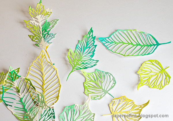 Layers of ink - Beautiful shades of green layout by Anna-Karin Evaldsson. Skeleton leaves.