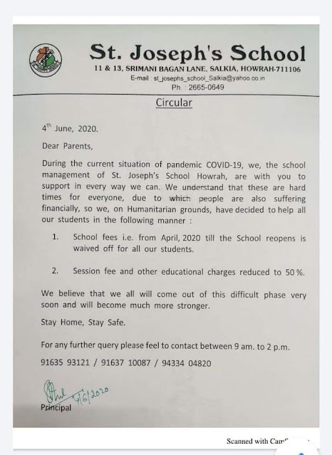 school fees waived for all students in st joseph school