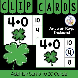 Addition Sums to 20 Clip Cards Shamrock Themed