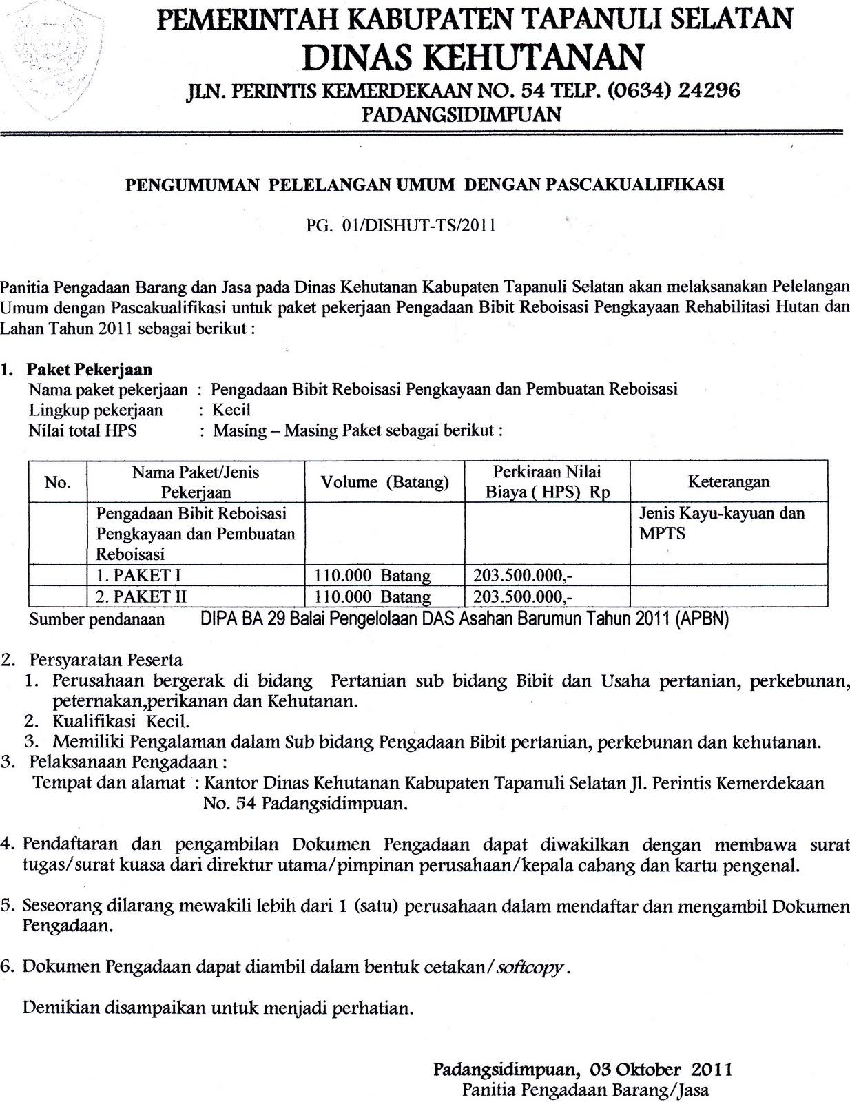 Pemerintah Kabupaten Tapanuli Selatan Info Lelang Dinas Kehutanan