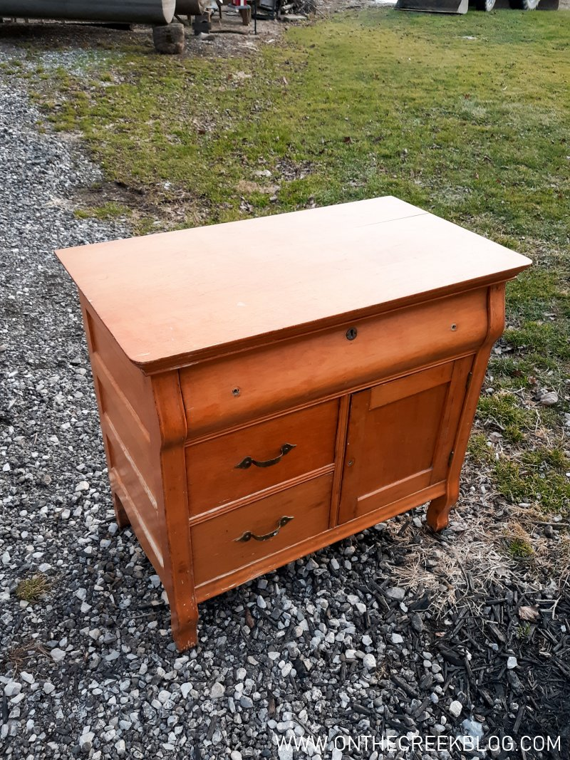 A rustic painted wash stand makeover!   On The Creek Blog