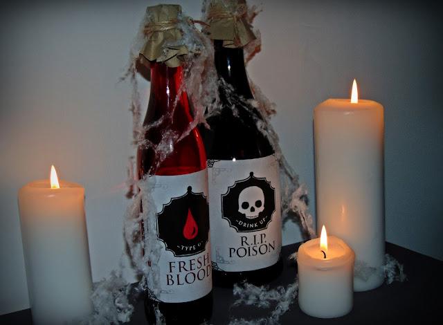 dekoracyjne butelki halloweenowe