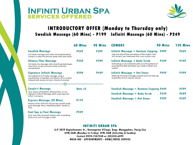 infiniti urban spa services