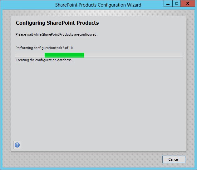 Configuration Failed: Failed to create the configuration database