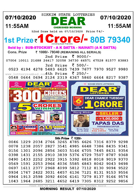 Sikkim State Lottery Sambad 07-10-2020 Today Result 11.55 AM