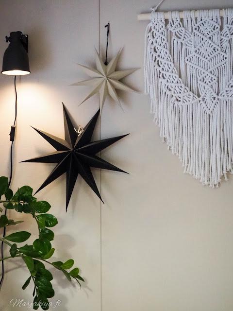 sisustus, olohuoneen sisustus koti talvinen koti ruokailutila ikea kynttilä kierrätyskoti kirppistelijä kirppislöytö paperitähti tähti