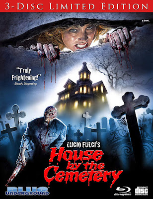 Cover art for Blue Underground's 3-Disc Limited Edition of Lucio Fulci's HOUSE BY THE CEMETERY!