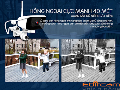 Camera ngoài trời ebitcam EBO3 (3MP) – hồng ngoại ban đêm cực mạnh