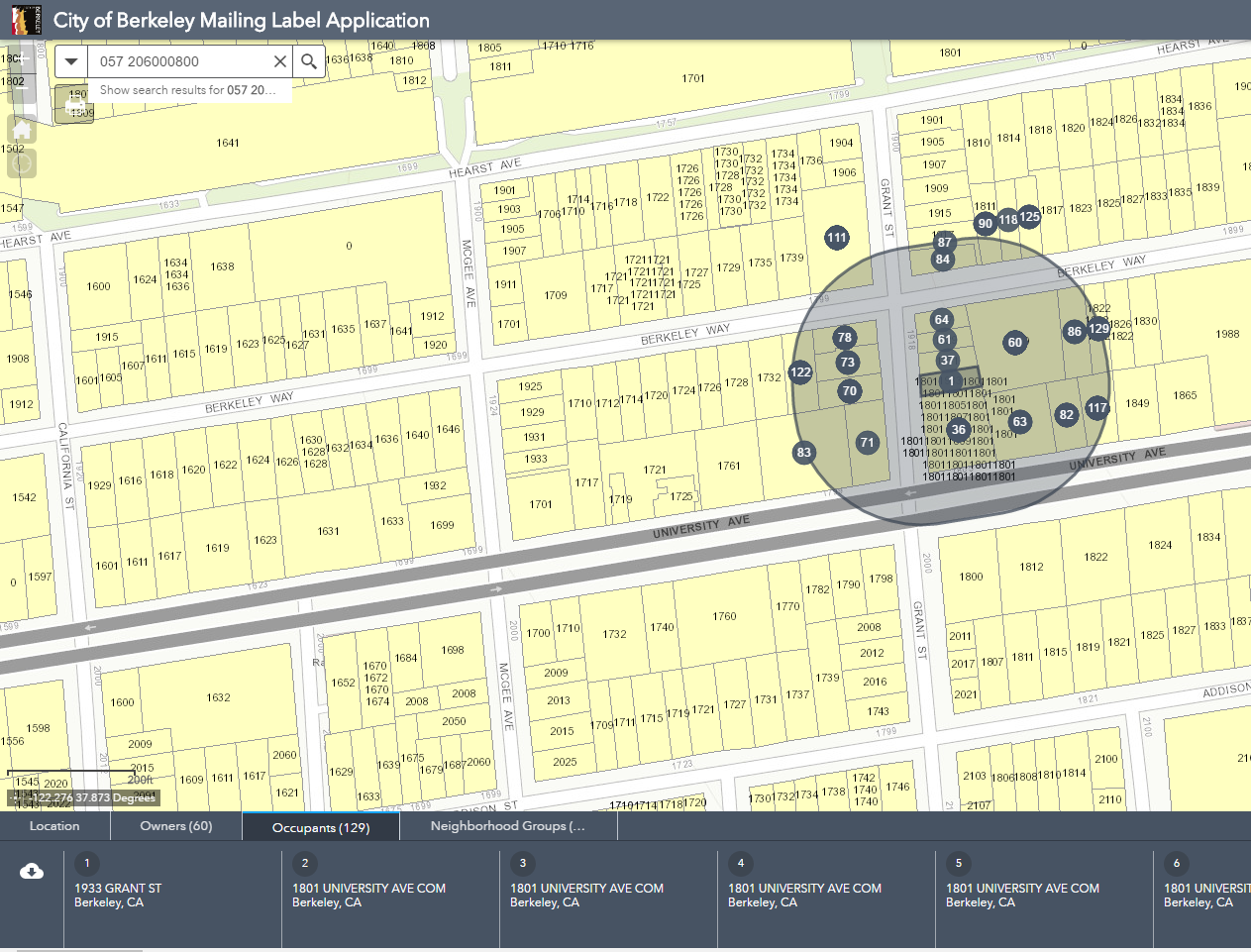 click the owner occupants or neighborhood groups tabs to view the selected parcels and download the csv file