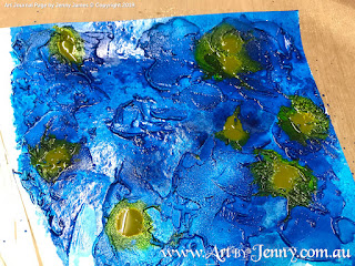 creating the Earth with Texture Paste and paint for mixed media artwork featuring Mother Nature by Jenny James