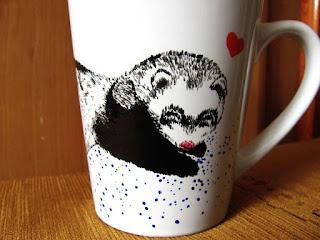 Taza DIY pintada a mano con oso panda