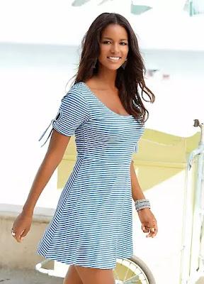 Blue Stripe Floral Beach time dress