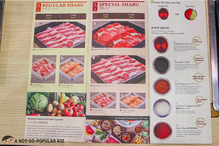 Shaburi Japanese Restaurant Menu