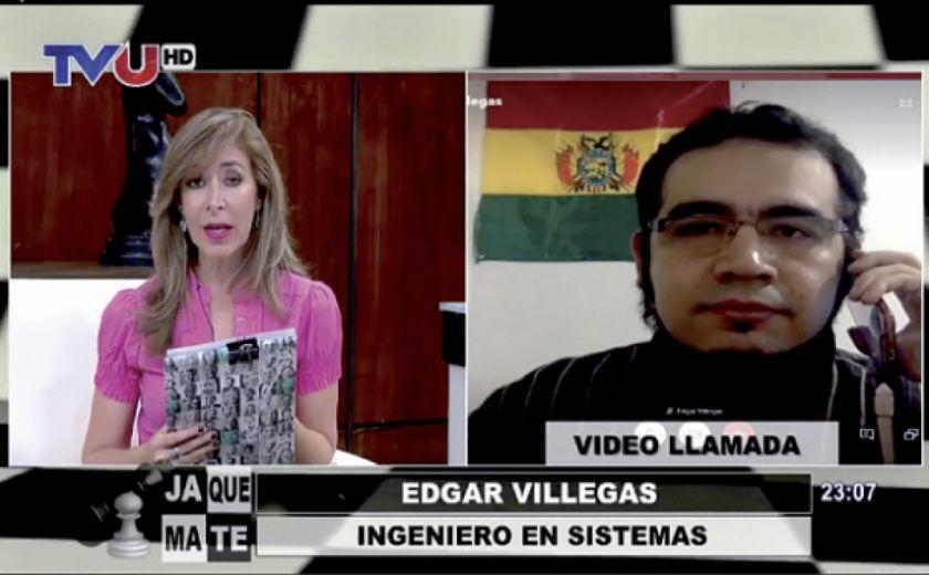 Galarza en la entrevista al experto informático que confirmó el fraude electoral de 2019 / CAPTURA TVU ARCHIVO