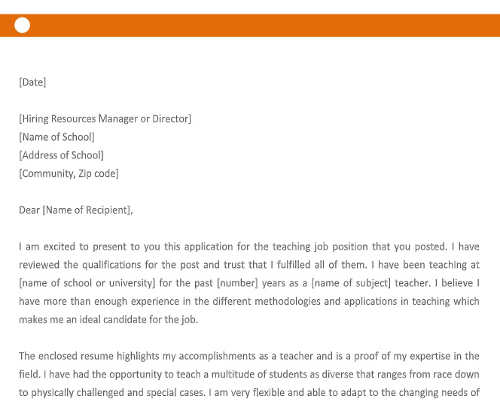 Application Letter for Teaching Job in School