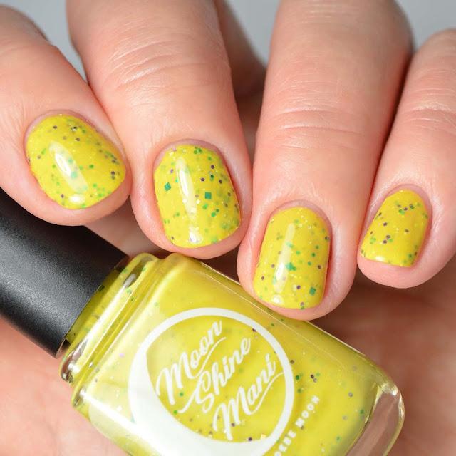 yellow glitter nail polish swatch