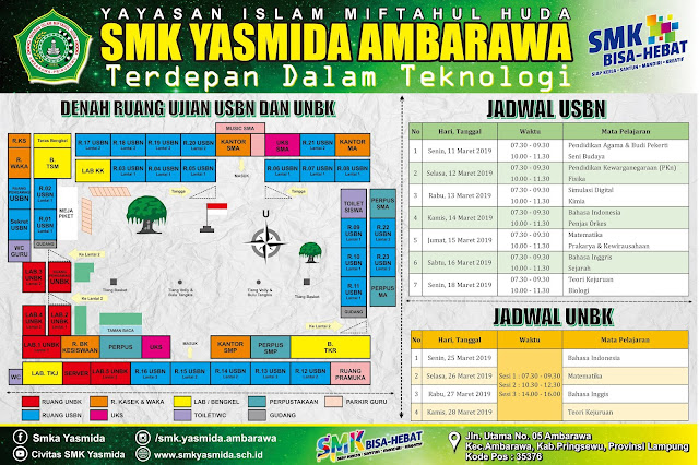 Desain Denah Ruangan dan Jadwal USBN dan UNBK SMK  Yasmida Ambarawa