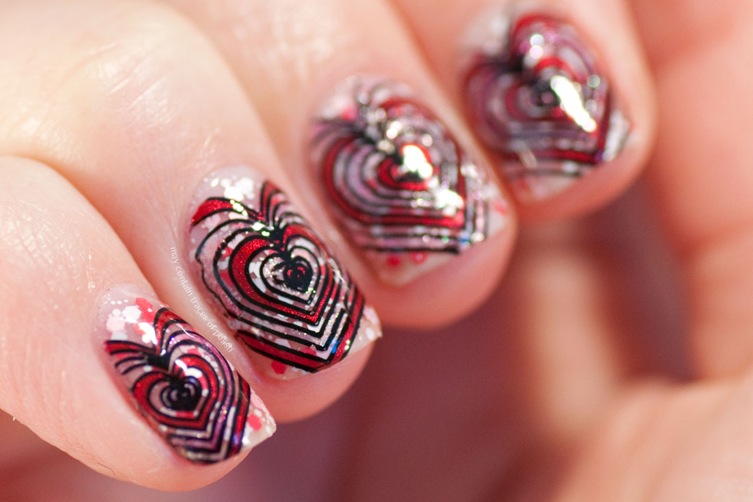 Valentine's Day Heart Nail Art Design stamped with MoYou London Princess 10