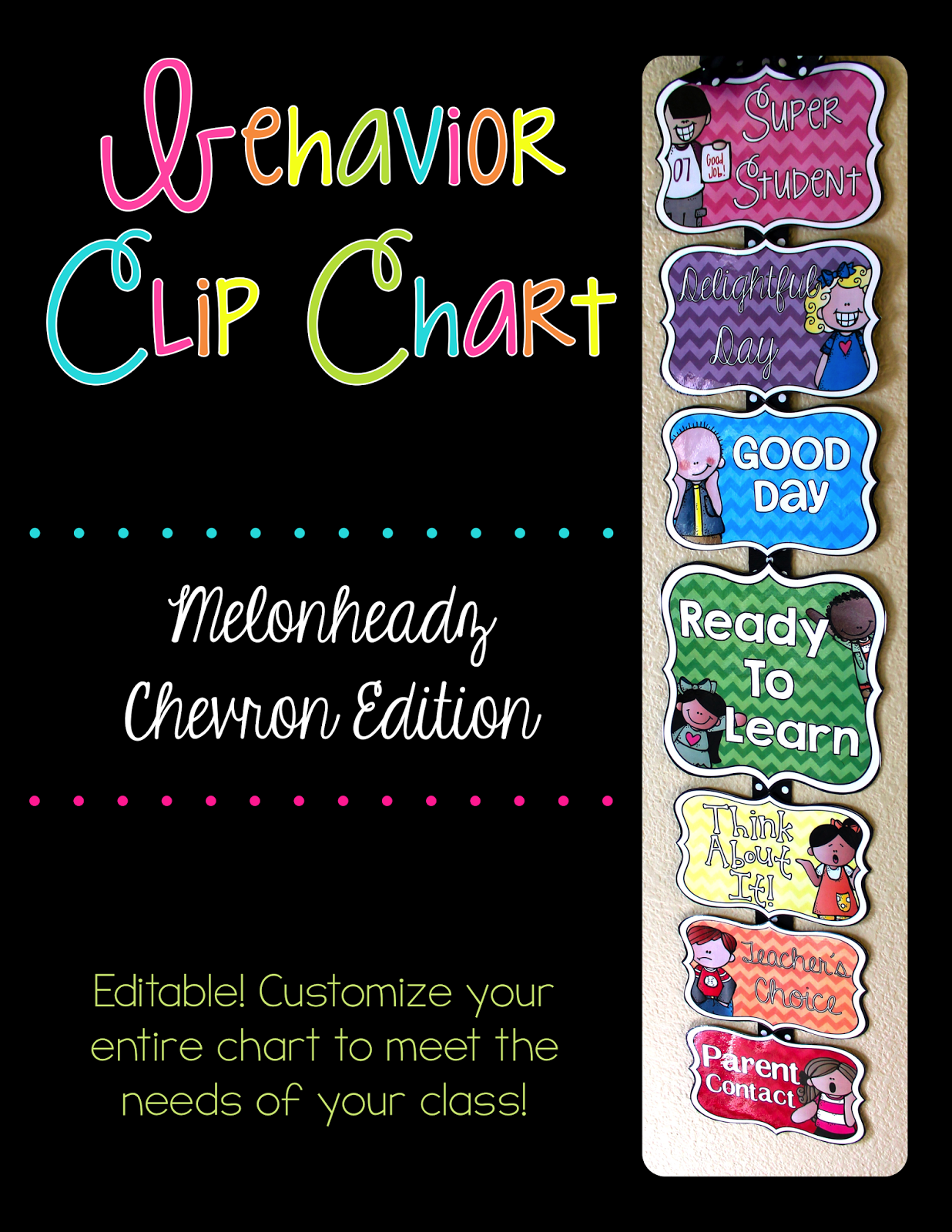 http://www.teacherspayteachers.com/Product/Editable-Behavior-Chart-Melonheadz-Chevron-Edition-1336807