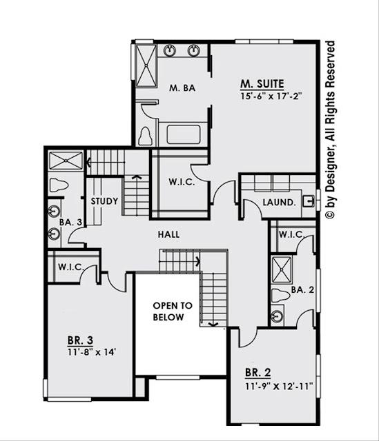 แปลนบ้าน 4 ห้องนอนชั้น 2
