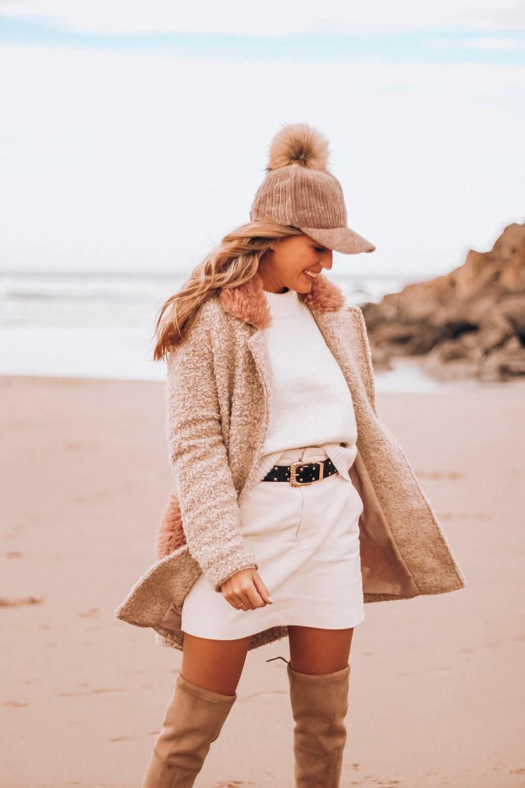 falda de pana blanca