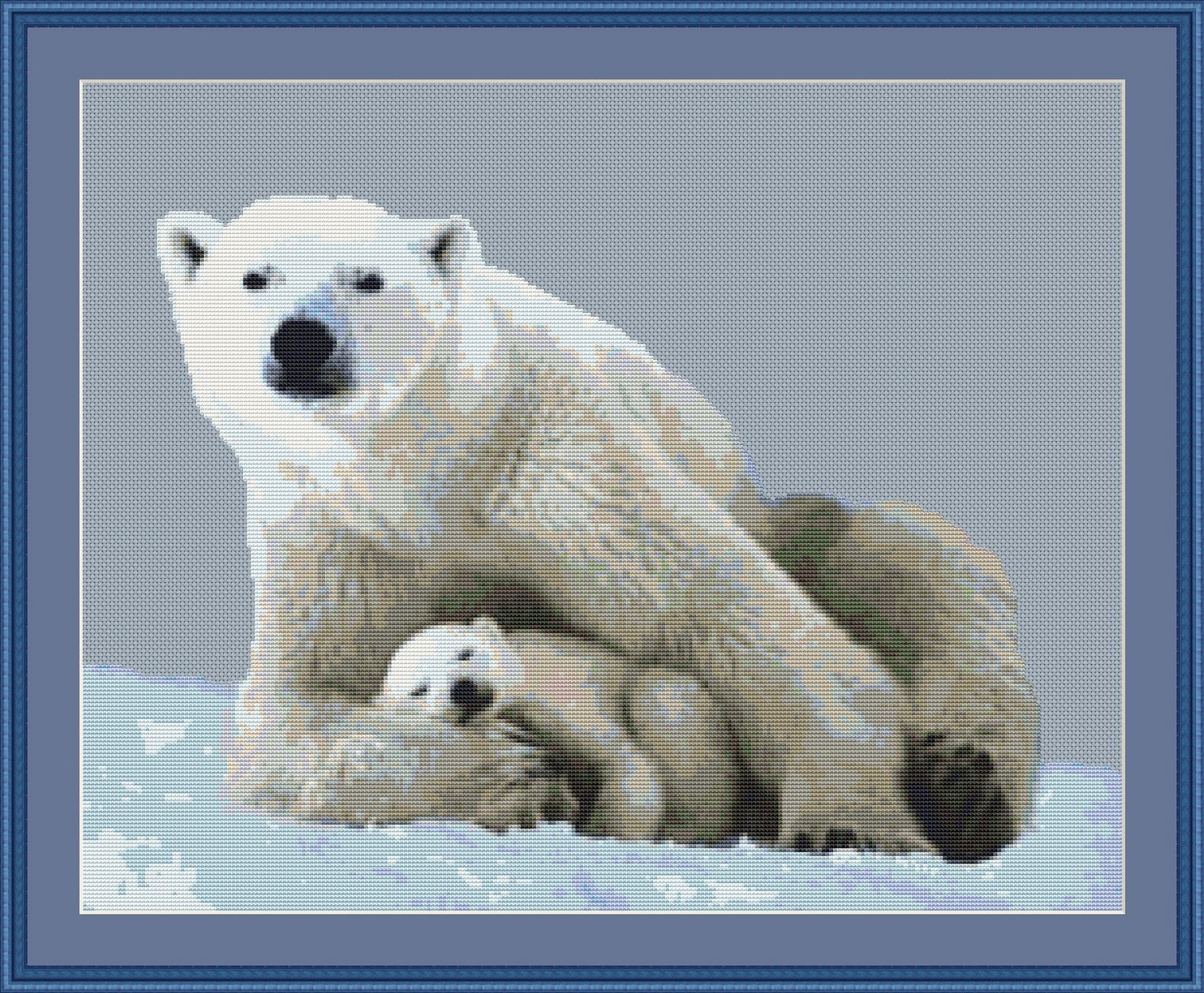 Cross Stitch Works Polar Bear With A Cub Free