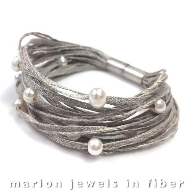 Freshwater Pearl Multi Strand Linen Bracelet Tutorial