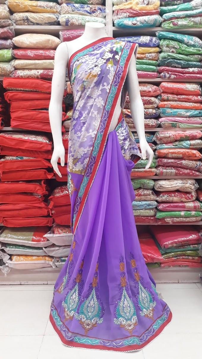 half n half lovender color saree with braso antique pallu by sharmili saree