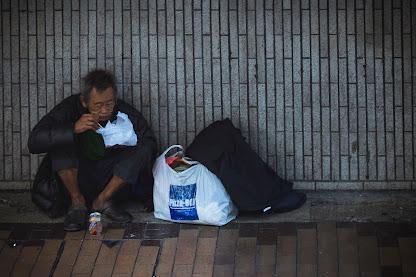 poor man eating