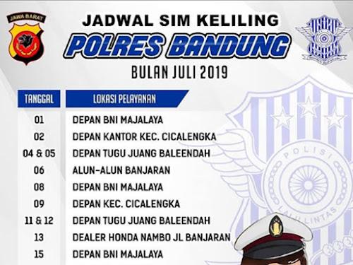 Jadwal SIM Keliling Polres Bandung Bulan Juli 2019