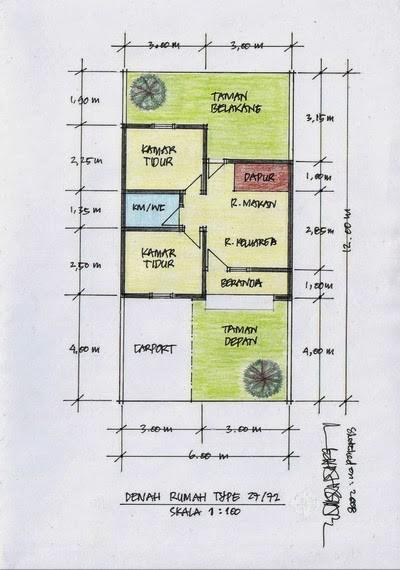 gambar denah rumah tingkat 2