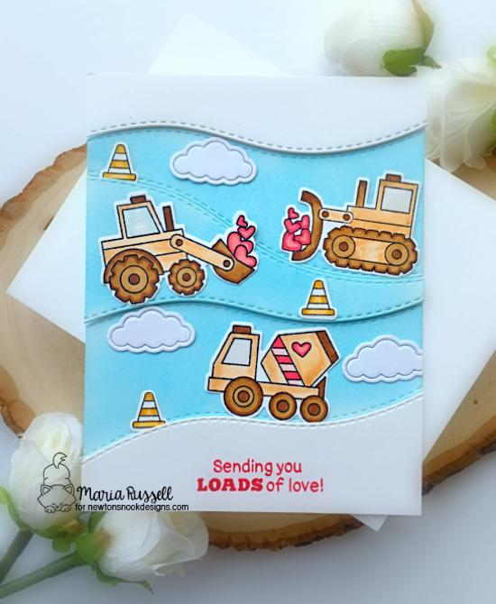 Construction Trucks Valentine Card by Maria Russell | Love Quarry Stamp Set and Land Borders Die Set by Newton's Nook Designs #newtonsnook #handmade