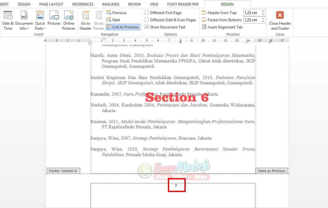 Mengatur nomor halaman section 6