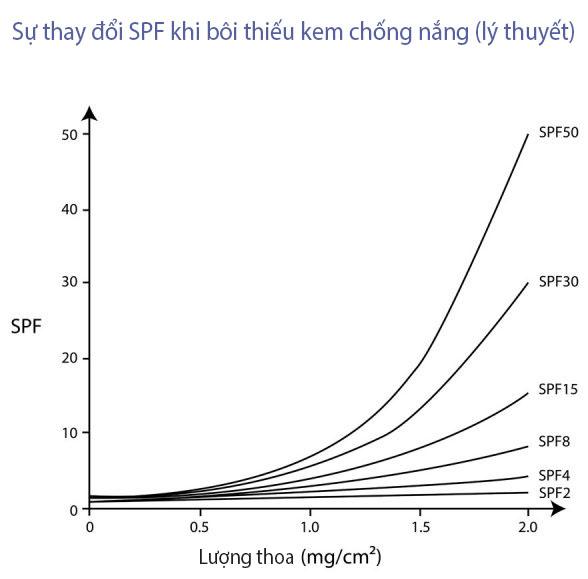 SPF sẽ giảm theo cấp số nhân nếu bôi không đủ lượng (dựa trên lý thuyết)