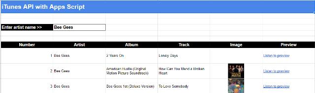 Screenshot of artist details in Google Sheet table