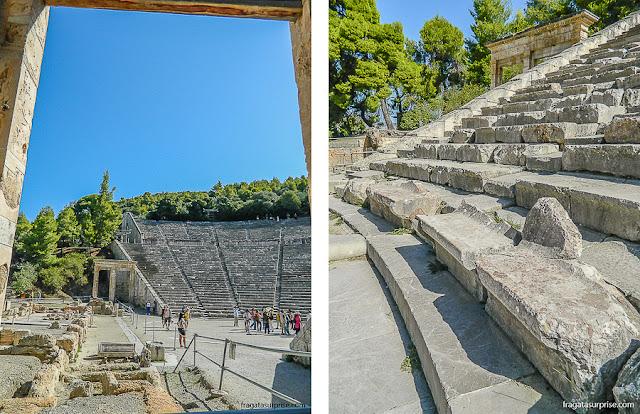 bancos de mármore da arquibancada do Teatro de Epidauros