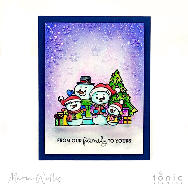 #cardbomb, #maria willis, #tonicstudios, #tonicstudiosusa, #nuvo, #tonicwonderfulwishes, #christmas, #cards, #handmade, #handmadecards, #stamp, #ink, #paper, #papercraft, #craft, #create, #color, #watercolor, #snowman,