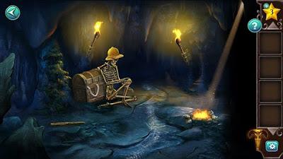 горящие факела, скелет в шляпе и сундук закрытый