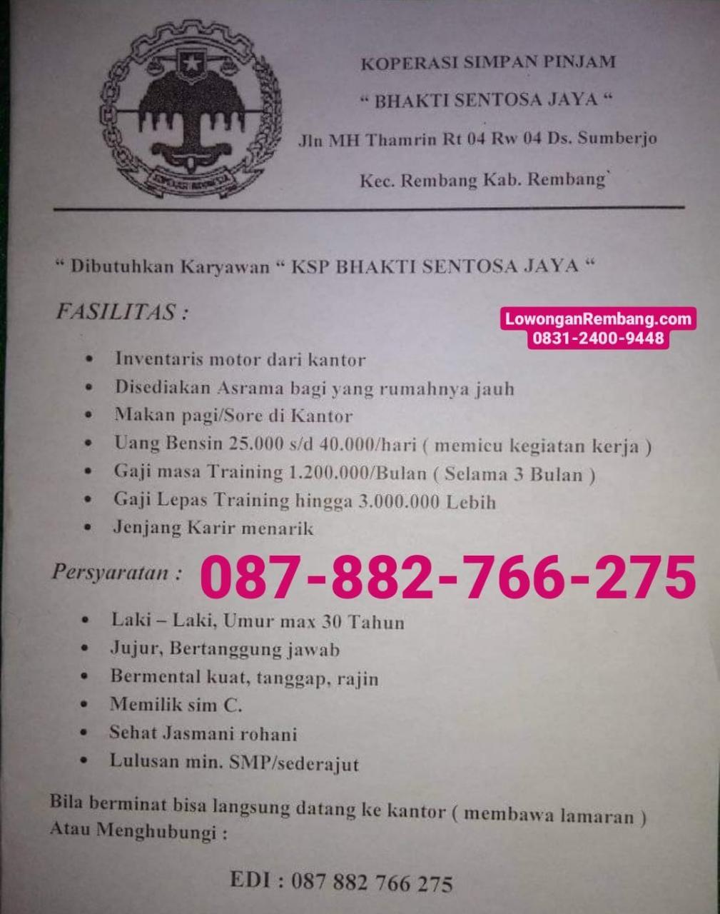 Lowongan Kerja Karyawan KSP Bhakti Sentosa Jaya Pendidikan Minimal SMP Sederajat