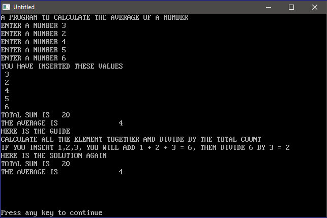 QBASIC: A PROGRAM TO CALCULATE THE AVERAGE OF A NUMBER