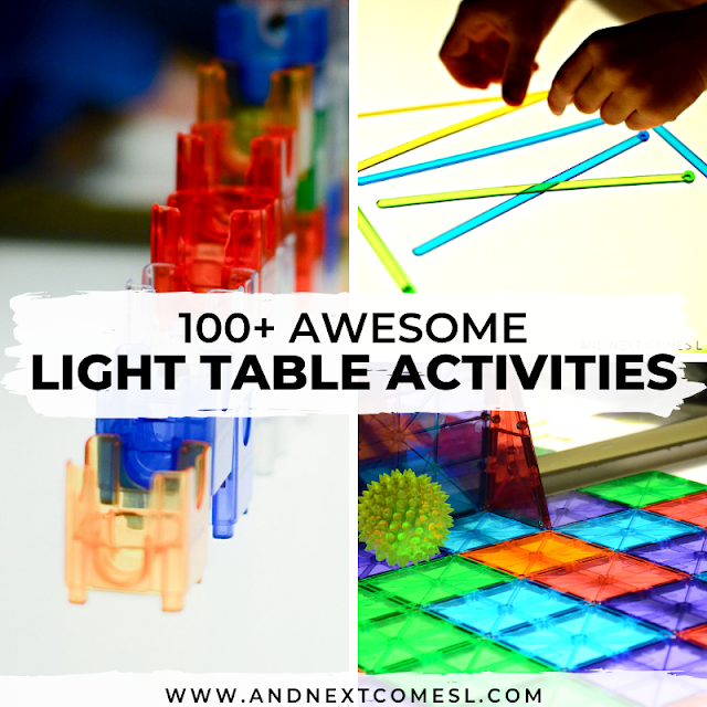 Light table activities for toddlers and preschool