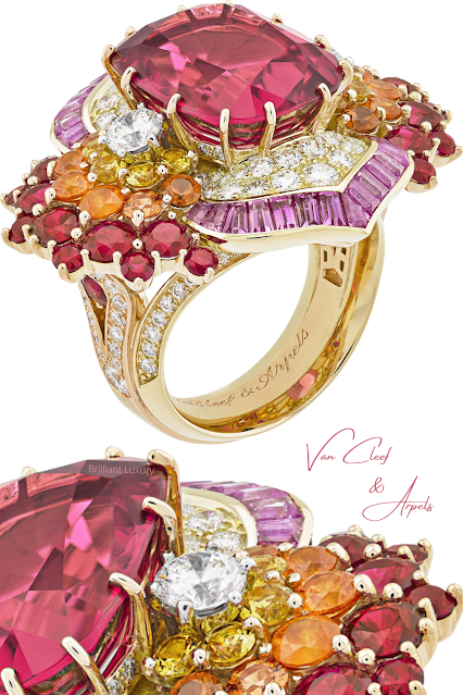 Van Cleef & Arpels Theyyam ring with cushion-cut rubellite of 11.68 cts, spessartite garnets, rubies, yellow & pink sapphires and diamonds #brilliantluxury