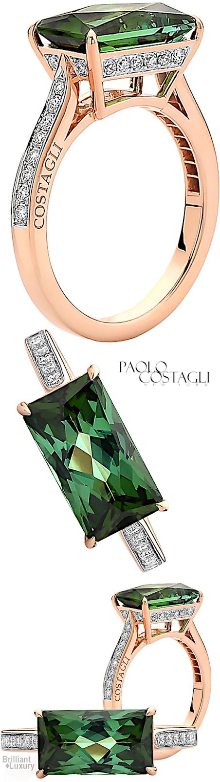 Brilliant Luxury♦Paolo Costagli Green Tourmaline And Diamond Ring