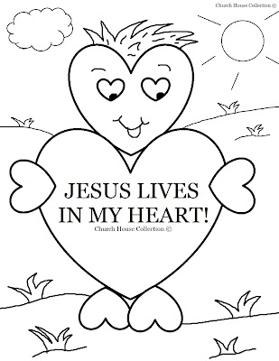 Jesus Lives In My Heart Coloring Page For Sunday School (Valentine's Day)