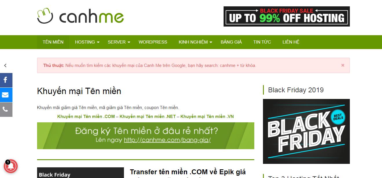 Tin tức domain khuyến mãi của các nhà cung cấp