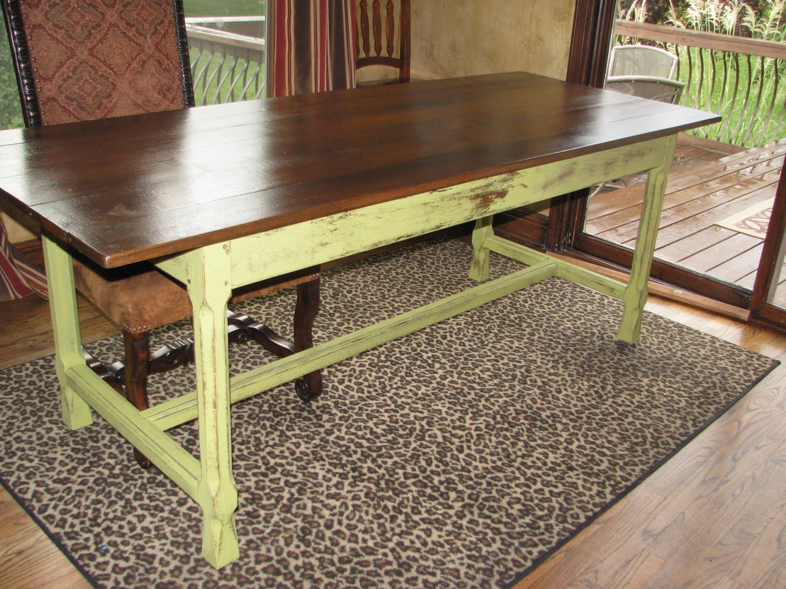 farmhouse chairs for sale helicopter chair accessories apple green farm trestle table the magic brush