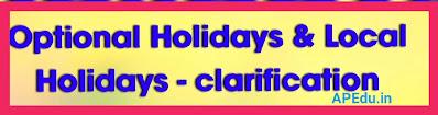 Optional Holidays & Local Holidays - clarification